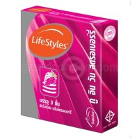 LifeStyles 2 in 1 Strawberry (ถุงยางอนามัยไลฟ์สไตล์ ทู อิน วัน สตรอเบอร์รี่)