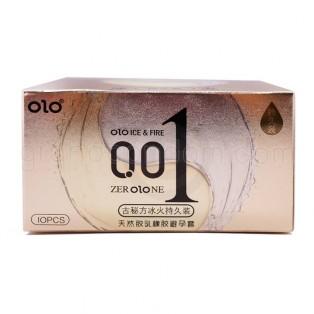 ถุงยางอนามัย olo 0.01 Ice & Fire สูตรชะลอการหลั่ง 1 กล่อง (10 ชิ้น)