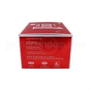 ถุงยางอนามัย olo 001 กล่องสีแดง สูตรเจลหล่อลื่นแบบอุ่น 1 กล่อง (10 ชิ้น)