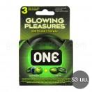 One Glowing Pleasures ถุงยางเรืองแสง (1 กล่อง 3 ชิ้น)